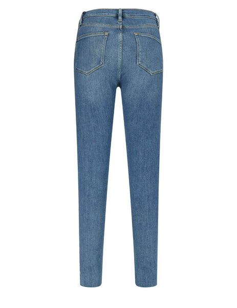 Frame Women's Le High Skinny Raw Stagger Jeans in Westway Blue LHSKRS801-WTWY