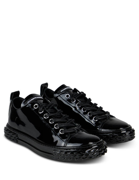 Women's Black Giuseppe Zanotti Patent Leather Blabber Sneakers RW00011002