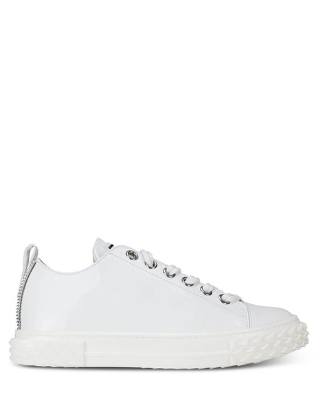 Women's White Giuseppe Zanotti Patent Leather Blabber Sneakers RW00011001