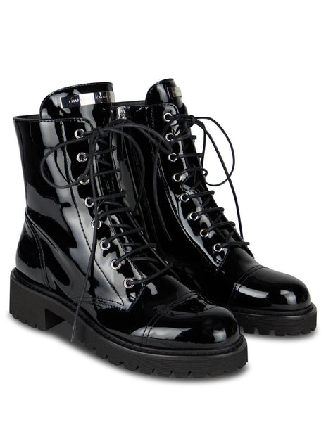Women's Black Giuseppe Zanotti Patent Leather Thora Boots I070010004