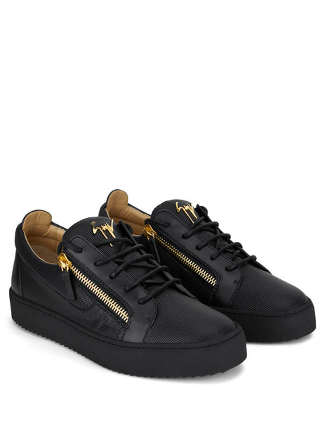 Mens Giuseppe Zanotti Printed Leather Frankie Sneakers in Black RU00010039