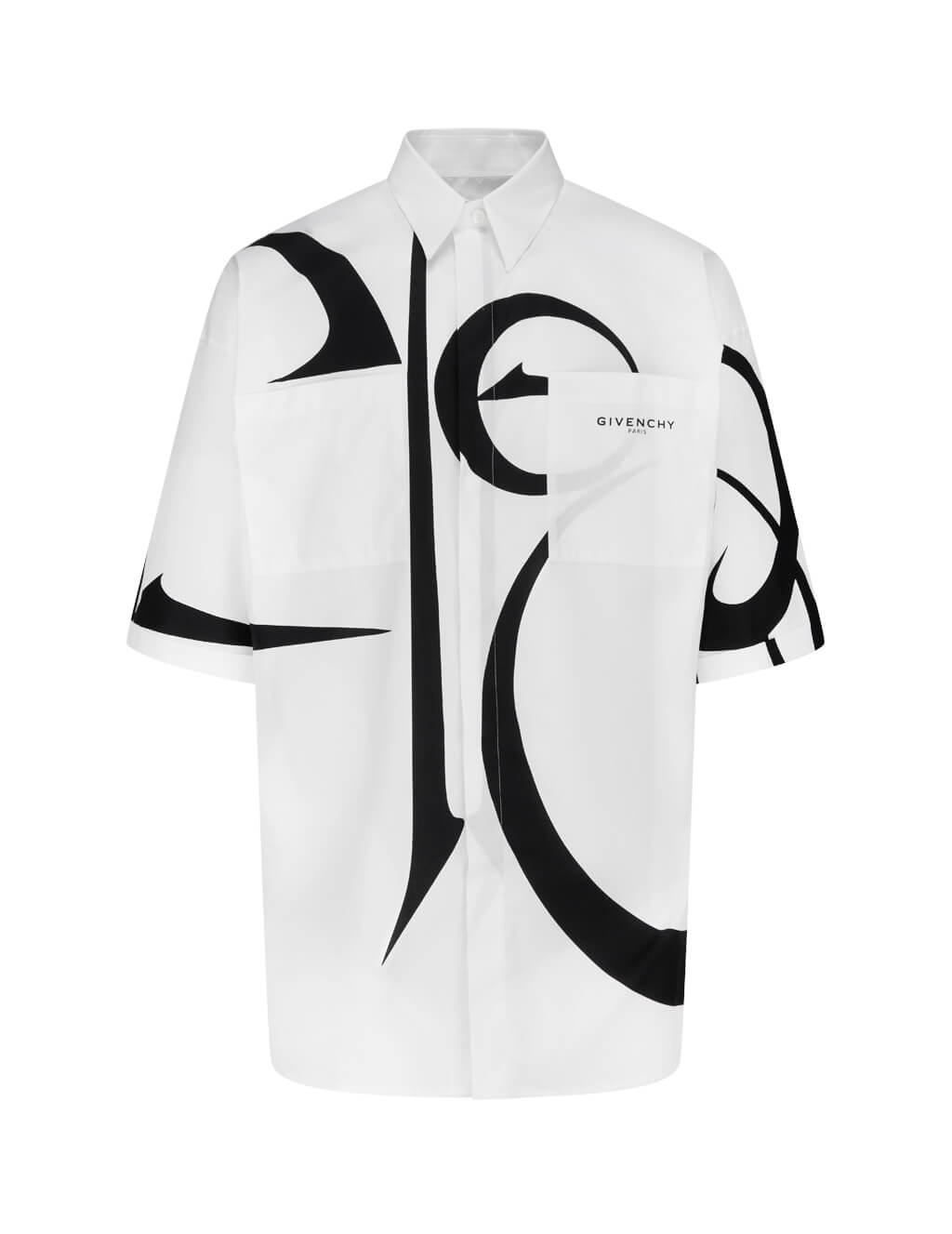 Men's White Givenchy Calligraphic Pattern Shirt BM60JL12TK 116