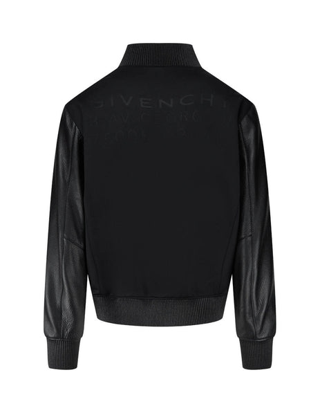 Givenchy Men's Giulio Fashion Black Leather Insert Bomber BM00K960TF-001
