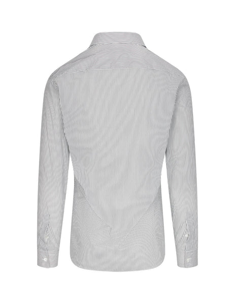 Givenchy Men's White and Black Slim Fit Embroidered Striped Shirt BM60GX102W 116