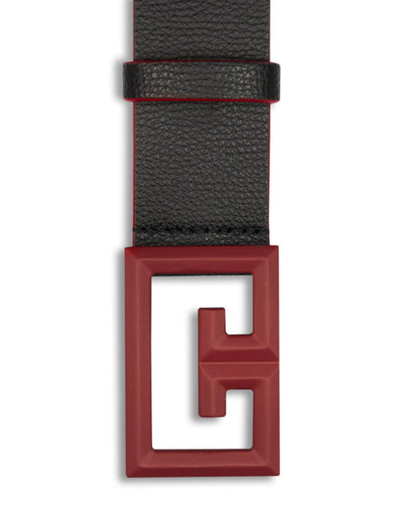 Givenchy Men's Giulio Fashion Black and Red 2G Buckle Belt BK4034K0Z8-009