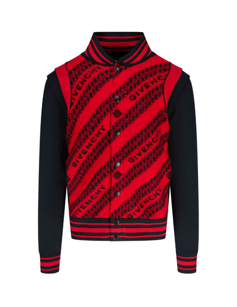 Men's Givenchy Chain Jacquard Bomber Jacket in Red/Black - BM00MN40BG-606