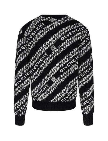Men's Givenchy Chain Jacquard Jumper in Black/White - BM90EE4Y6Q-004