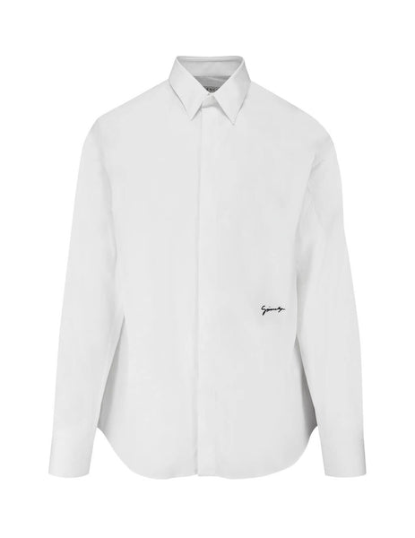 Givenchy Men's White Embroidered Shirt BM60GX100M 100