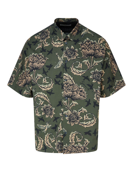 Men's Givenchy Floral and Astral Shirt in Khaki. BM60KX133N-308