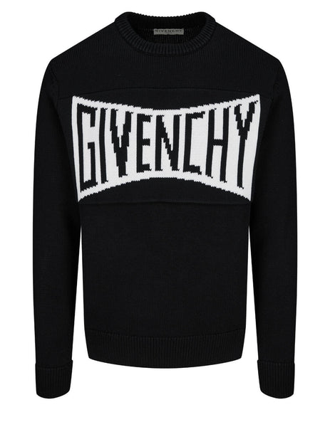 Men's Givenchy Logo Motif Jersey Sweater in Black/White - BM90F7401M-004
