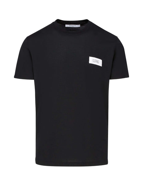 Givenchy Men's Black Logo Patch T-Shirt BM70RM30BV001