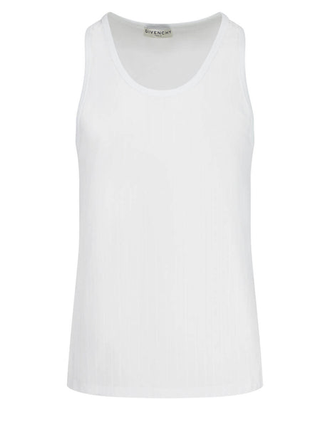 Givenchy Men's White Logo Stripe Tank Top BM710B12JZ-100