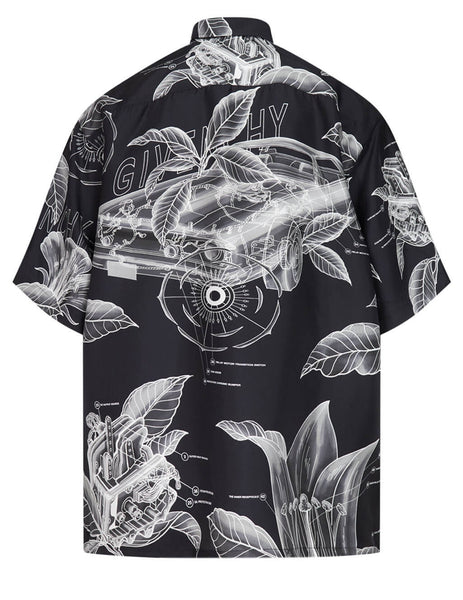 Givenchy Men's Black Motor Detail Shirt BM60NT13KA