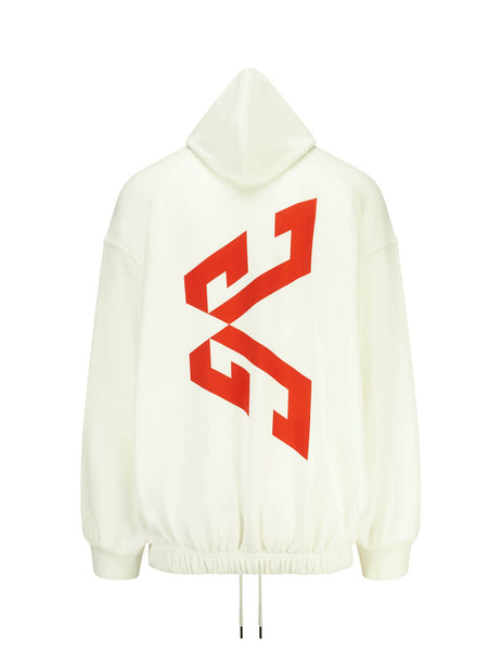 Givenchy Men's Giulio Fashion White Oversized Printed Hoodie BM00ER305B101