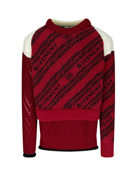 Givenchy Men's Red Patchwork Chain Jumper BM90EP4Y6Q-616