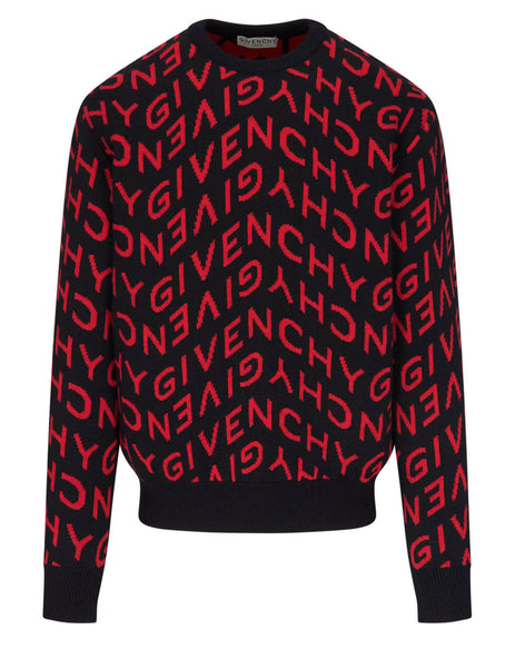 Givenchy Men's Black Refracted Intarsia Jumper BM90EQ4Y7G