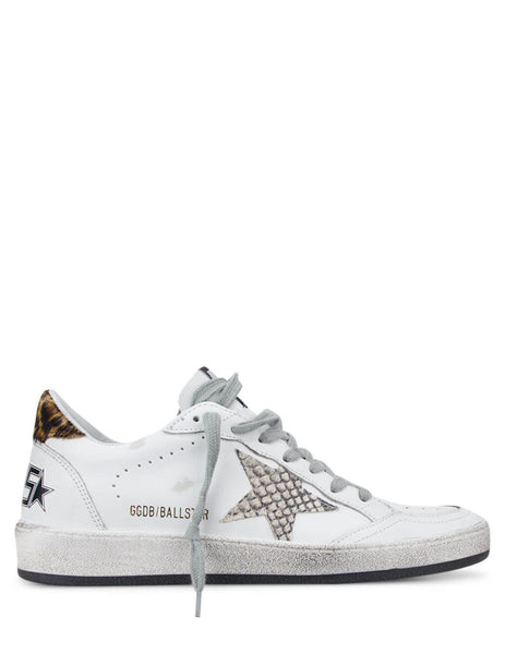 Golden Goose Deluxe Brand Women's White Ball Star Sneakers with Python and Leopard Print G36WS592.A41