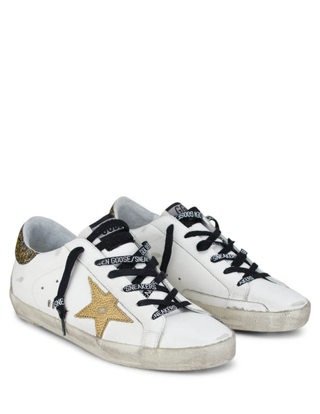 Golden Goose Deluxe Brand Women's White Superstar Sneakers with Gold G36WS590.S92