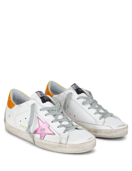 Golden Goose Deluxe Brand Women's White Superstar Sneakers with Gold and Pink G36WS590.S59