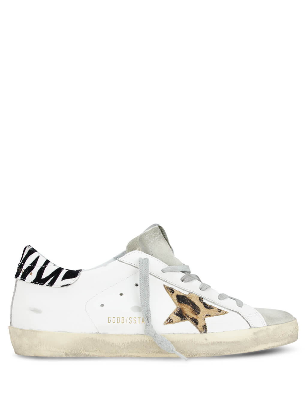 Golden Goose Deluxe Brand Women's White Superstar Sneakers with Pony Leopard Star and Zigger Details G36WS590.T94