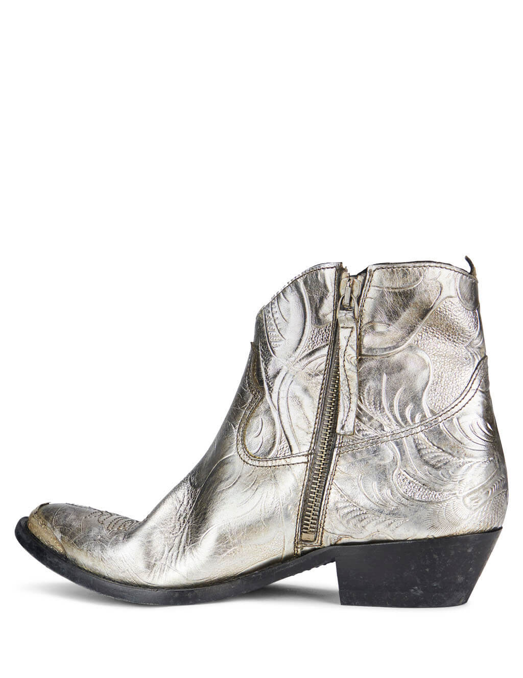Golden Goose Deluxe Brand Women's Giulio Fashion Silver Texan Flowers Boots G35WS274F5