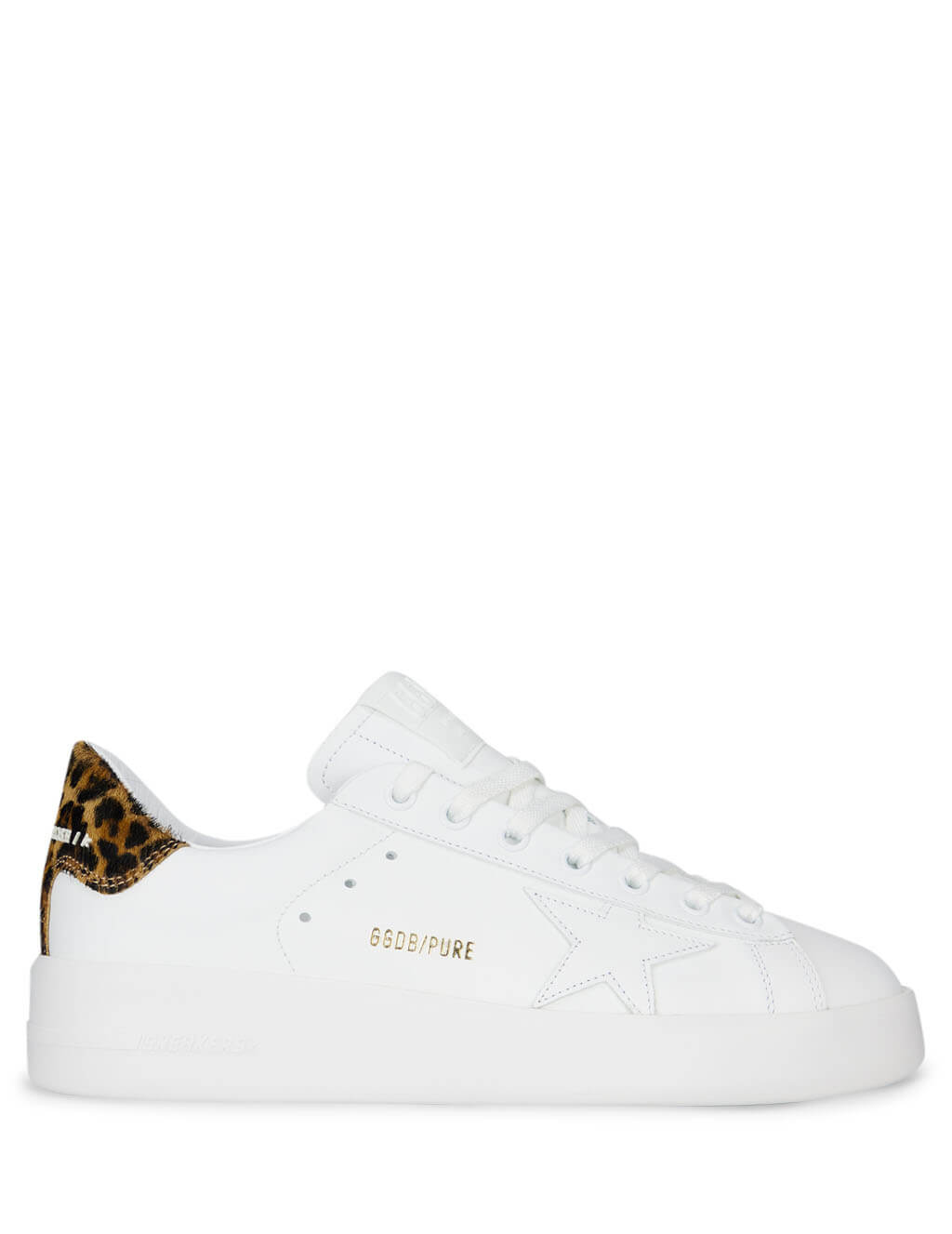 Women's White and Brown Leopard Golden Goose Pure Star Sneakers GWF00124.F000310.10269