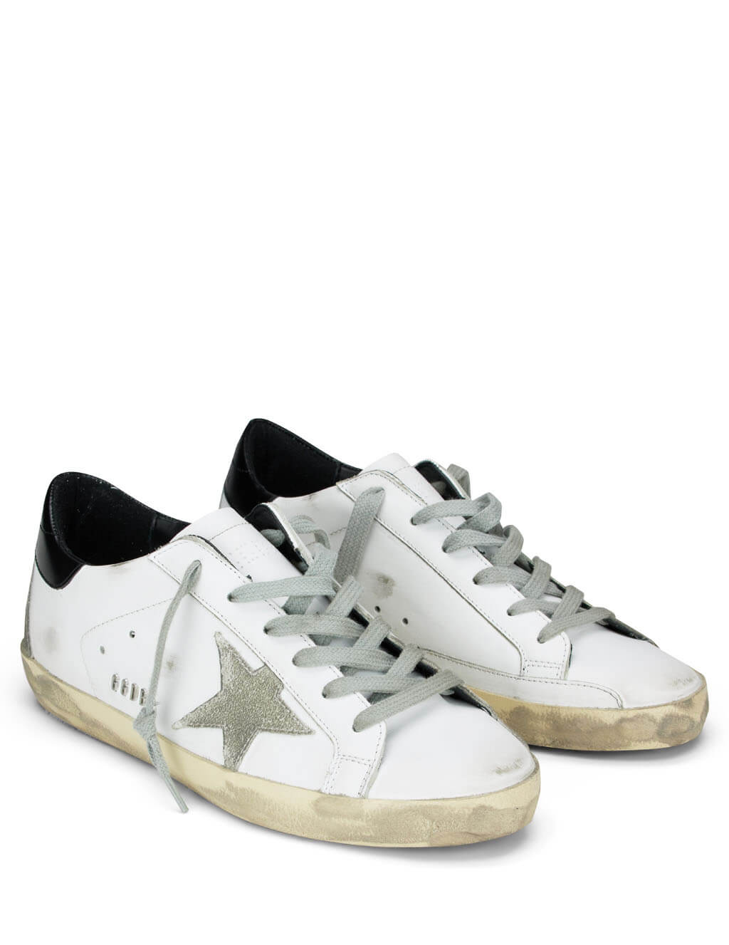 Women's White and Black Golden Goose Superstar Sneakers GCOWS590.W55