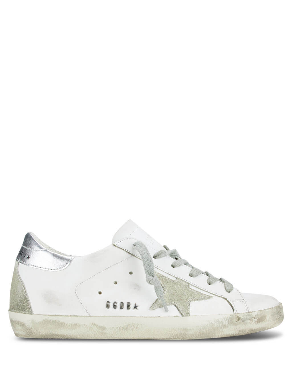 Women's White and Silver Golden Goose Superstar Sneakers GCOWS590.W77