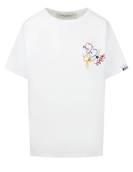 Women's Golden Goose Arrow Heart T-Shirt in White - GWP00615P00035510100