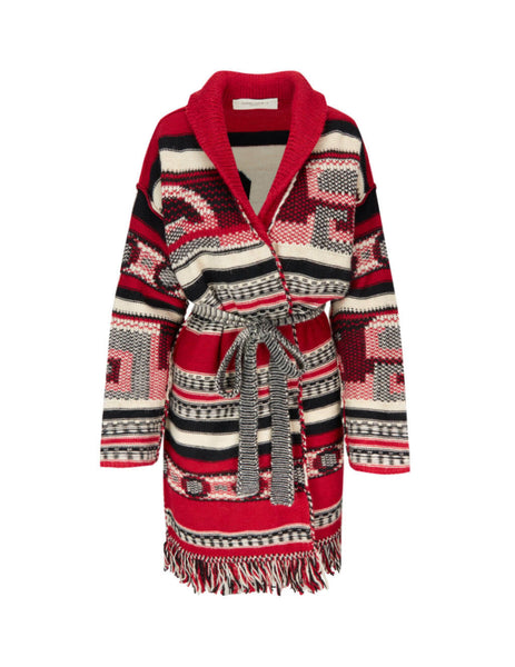 Golden Goose Women's Giulio Fashion Red Jacquard Azul Cardigan GWP00238.P000220.80461