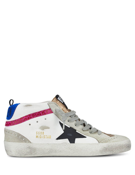 Women's Golden Goose Mid-Star Sneakers in White/Gold/Pink/Blue GWF00122.F000204.80227