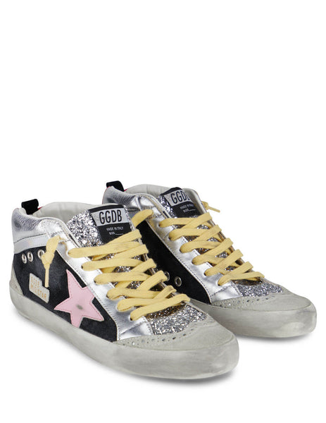 Women's Golden Goose Mid Star Sneakers in Ice/Black/Silver/Pink GWF00123F00020380226