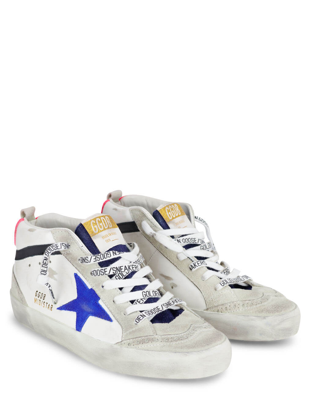 Women's Golden Goose Mid Star Sneakers in White/Blue/Fuchsia/Black - GWF00122.F000263.80269
