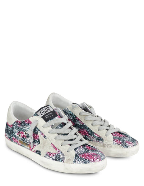 Women's Golden Goose Super-Star Sneakers in Black/Silver/Fuchsia - GWF00101.F000148.80171