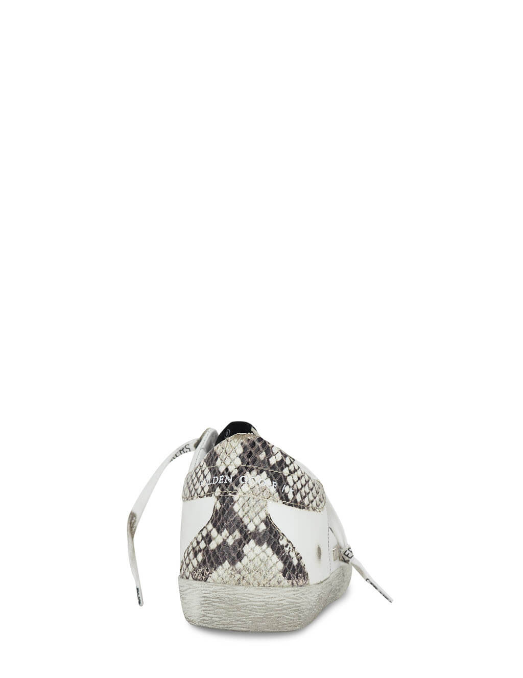 Women's Golden Goose Super-Star Sneakers in White/Silver/Snake - GWF00102F00076110402