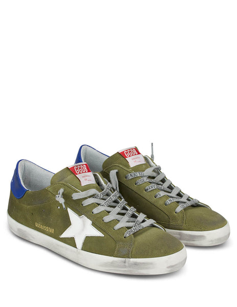 Men's Golden Goose Superstar Sneakers in Wood Green/Blue/White GMF00101F00061780506