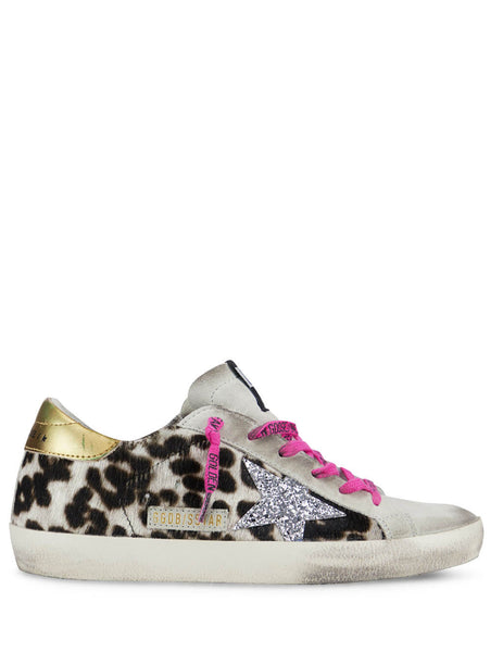 Women's Golden Goose Superstar Sneakers in Ice/Leopard/Gold GWF00101F00014280215