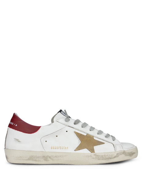 Men's Golden Goose Superstar Sneakers in White/Cappuccino/Bordeaux GMF00101F00036510288