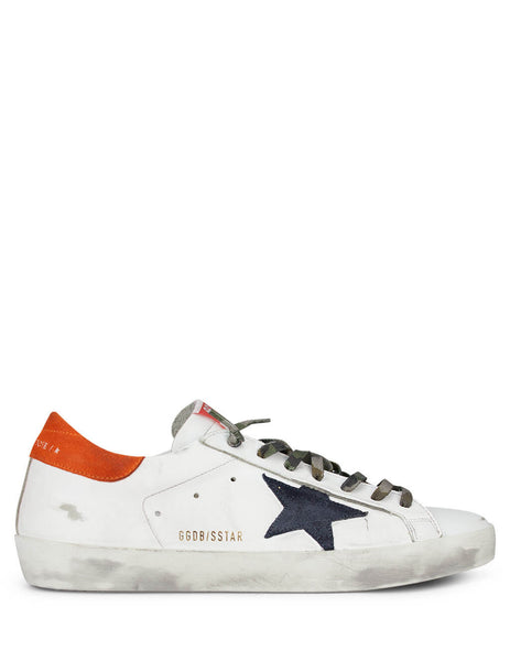 Men's Golden Goose Superstar Sneakers in White/Night Blue/Fanta Orange GMF00101F00061680505