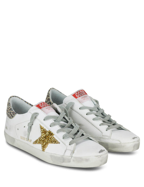 Women's White, Leopard and Gold Golden Goose Superstar Sneakers GWF00101F00016680212