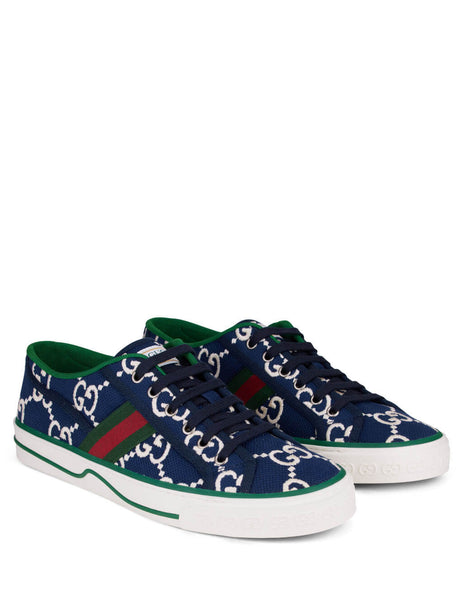 Men's Ink Blue Gucci 1977 Tennis Sneakers 606111H0G104370