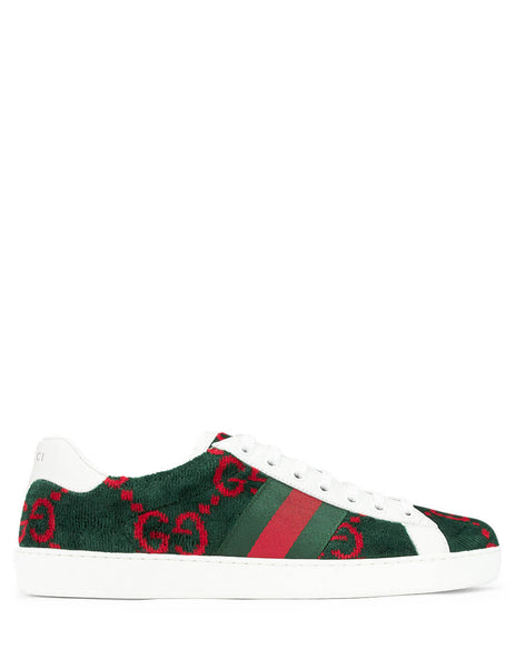 Gucci Men's Green/Red Ace GG Terry Cloth Sneakers 576177hmm503177