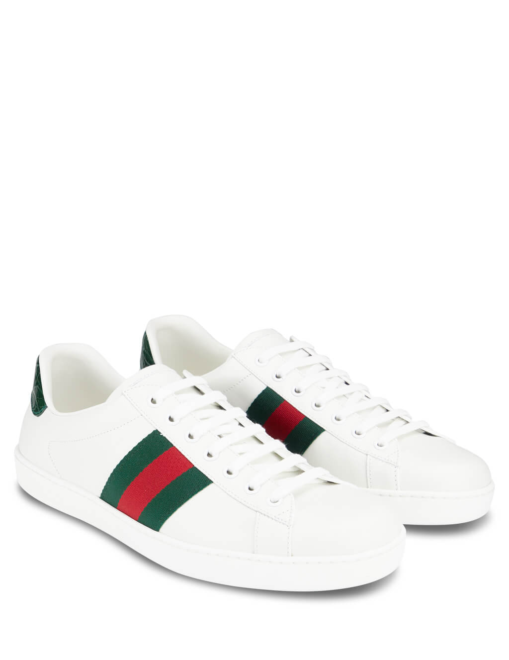 Gucci Men's White Ace Leather Sneakers