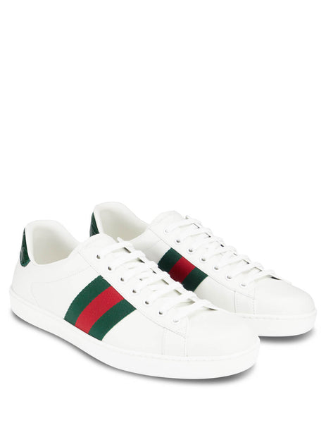 Men's White Gucci Ace Leather Sneakers with Green and Red Web 386750 A3830 9071
