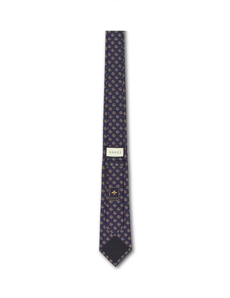 Gucci Men's Navy Blue Double G And Hearts Silk Tie 5717894E0024000