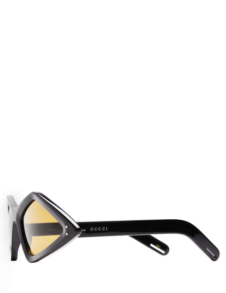 Gucci Eyewear Giulio Fashion Men's & Women's Unisex Black Diamond-Frame Sunglasses GG0496S001