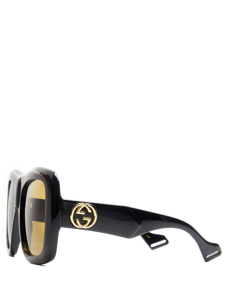 Gucci Eyewear Unisex Giulio Fashion Black Oversize Square-Frame Sunglasses GG0498S001