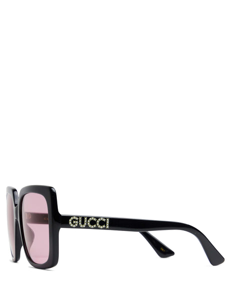 Gucci Eyewear Women's Giulio Fashion Black Rectangular Frame Sunglasses GG0418S002