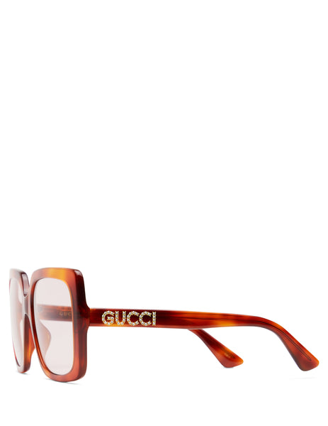 Gucci Eyewear Women's Giulio Fashion Brown Rectangular Frame Sunglasses GG0418S005