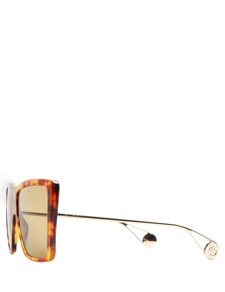 Gucci Eyewear Women's Giulio Fashion Brown Square-Frame Sunglasses GG0434S003